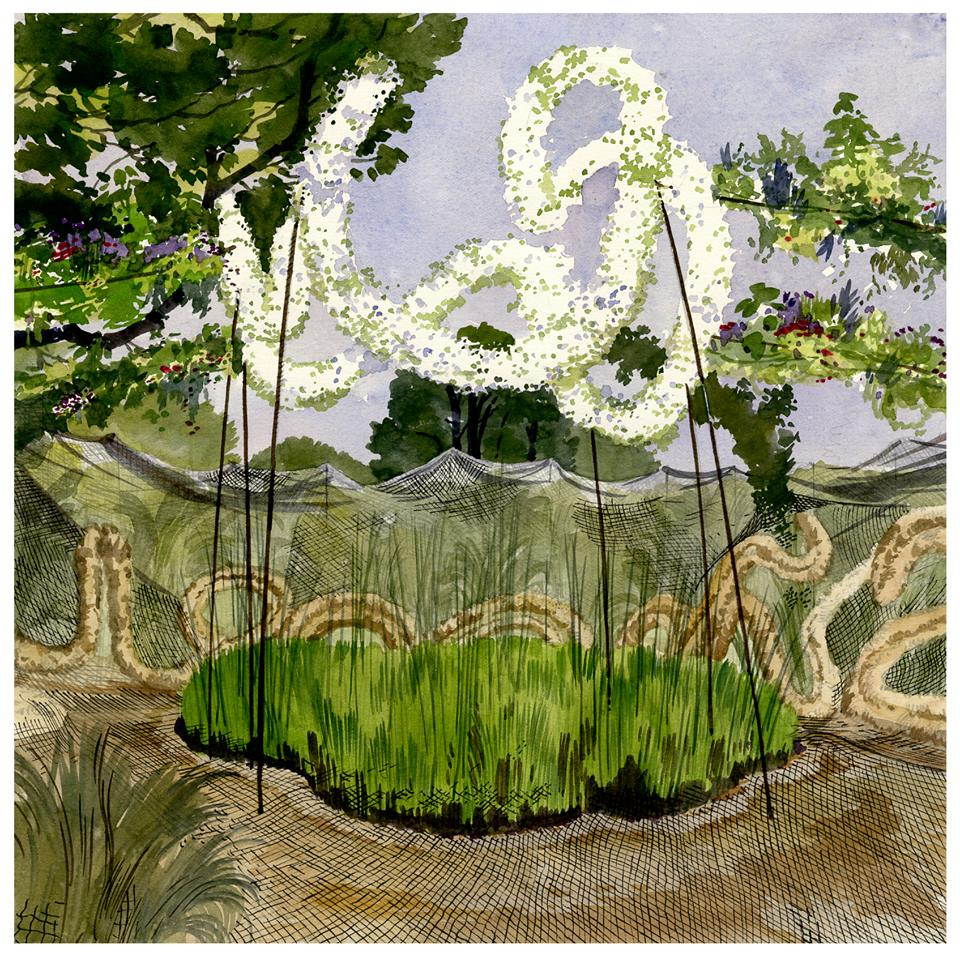 Le jardin flottant du songe aquarelle fabrice moireau for Jardin flottant
